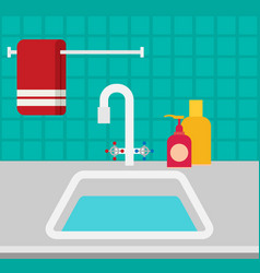 kitchen sink flat vector image vector image