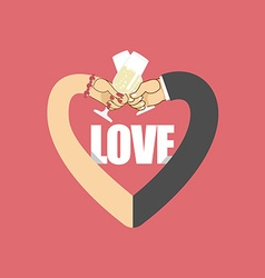 Love Heart symbol of love Mens hand and female vector image