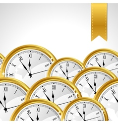 Stylish background with gold watches and ribbon vector image