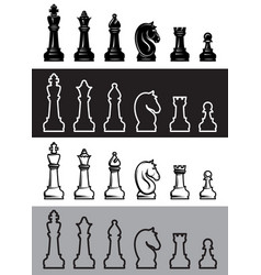 four sets of chess icons vector image vector image