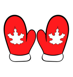 red mittens with a maple leaf icon cartoon vector image vector image
