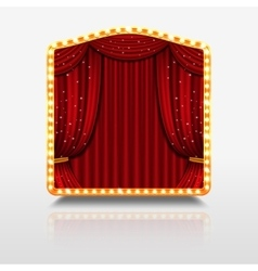 Stage curtain in shining banner with golden frame vector image vector image