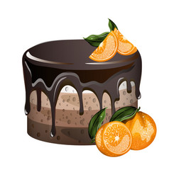 yummy layered cake with oranges vector image