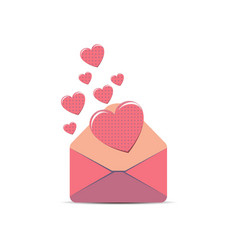 envelope pink letter love white paper isolated vector image vector image