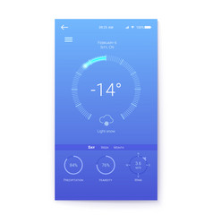 layout for winter weather mobile apps with vector image