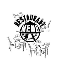 restaurant menu table chair and a dish with a vector image