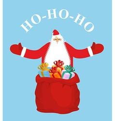 Santa Claus and gift bag HO-HO-HO Jolly Santa vector image vector image