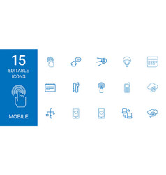 15 mobile icons vector