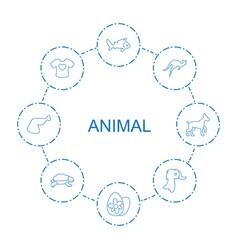 8 animal icons vector