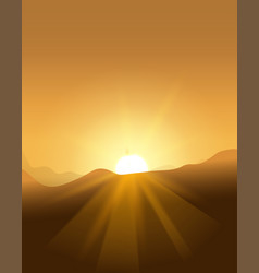 abstract yellow sunset with defocused lights vector image