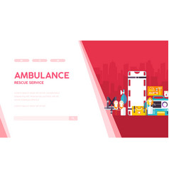 Ambulance landing page template vector