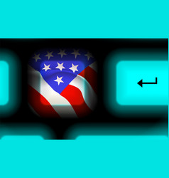 American flag button in neon computer keyboard on vector