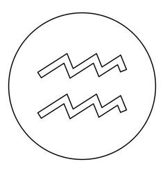 aquarius symbol zodiac icon black color in round vector image