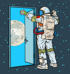 astronaut opens arms moon vector image
