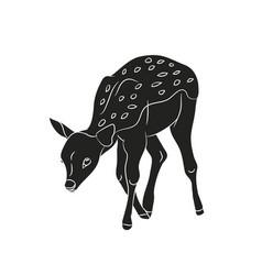 baby deer silhouette vector image