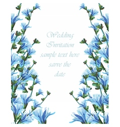 Beautiful Watercolor Blue flowers Wedding card vector