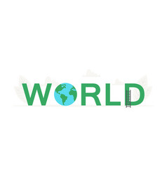 big word world and earth planet banner for vector image