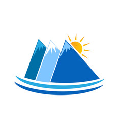 blue mountains nature icon logo vector image