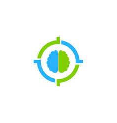 Brain target logo icon design vector