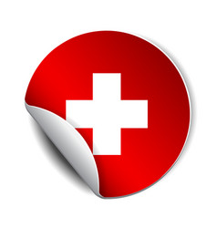 bright sticker with flag swiss vector image