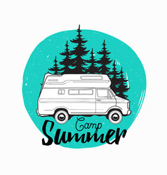Camper trailer campervan or recreational vehicle vector