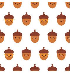 cartoon acorn characters seamless pattern vector image