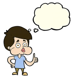 cartoon boy giving thumbs up with thought bubble vector image