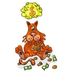 Cartoon Character Happy Cat Keeps Money vector image