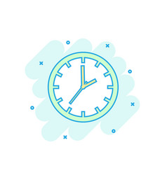 cartoon colored clock timer icon in comic style vector image