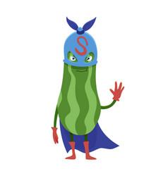 Cartoon flat zucchini superhero character vector