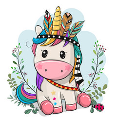 Cartoon unicorn with feathers on a blue background vector