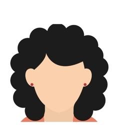 Caucasian woman black curly hair vector