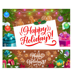 christmas banners with xmas gifts and presents vector image