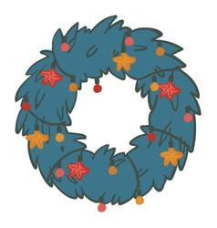 christmas pine branches wreath with garlands and vector image