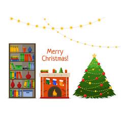 christmas room interior christmas tree and vector image