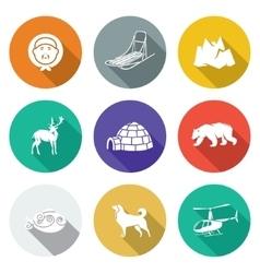 chukchi and the far north icons set vector image