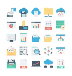 Cloud Data Technology Colored Icons 2 vector