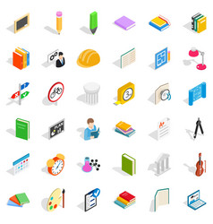 College diploma icons set isometric style vector