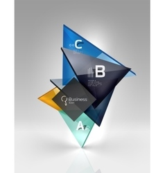 Colorful glossy glass triangle on empty 3d space vector image