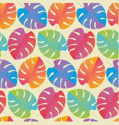 colorful tropical leaves regular seamless pattern vector image