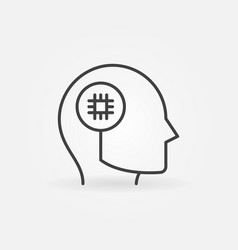 cpu or chip in human head concept outline vector image
