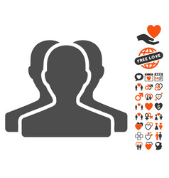 customer group icon with valentine bonus vector image