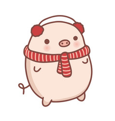 cute hand drawn cartoon pig vector image