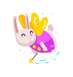 cute winged bunny flying with a magic wand vector image