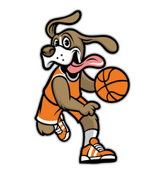 Dog basketball mascot vector