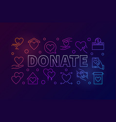 donate colorful horizontal vector image