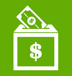 donation box icon green vector image