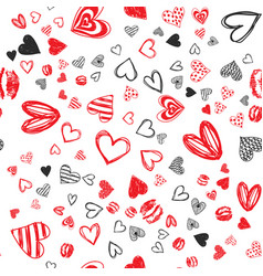 doodle love heart valentines day seamless vector image
