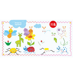 draw by squares game for children insects and vector image