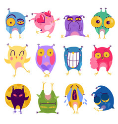 emotion owl stickers set vector image